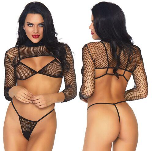 Fishnet Lingerie Thong /& Long Sleeved Crop Top Black Industrial Net Bikini Top