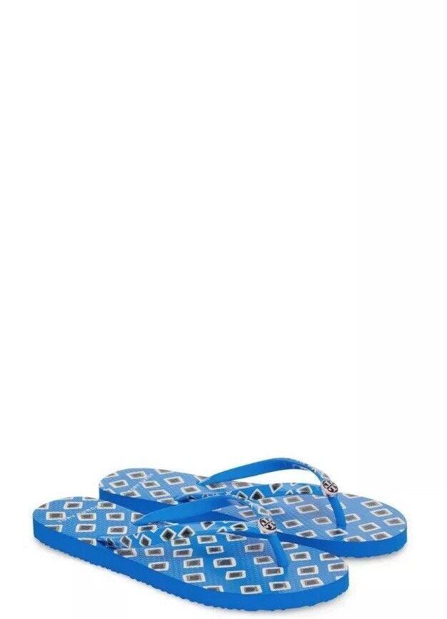 TORY BURCH THIN FLIP FLOP FLOPS Maze Diamond blueE Women Size 7 New