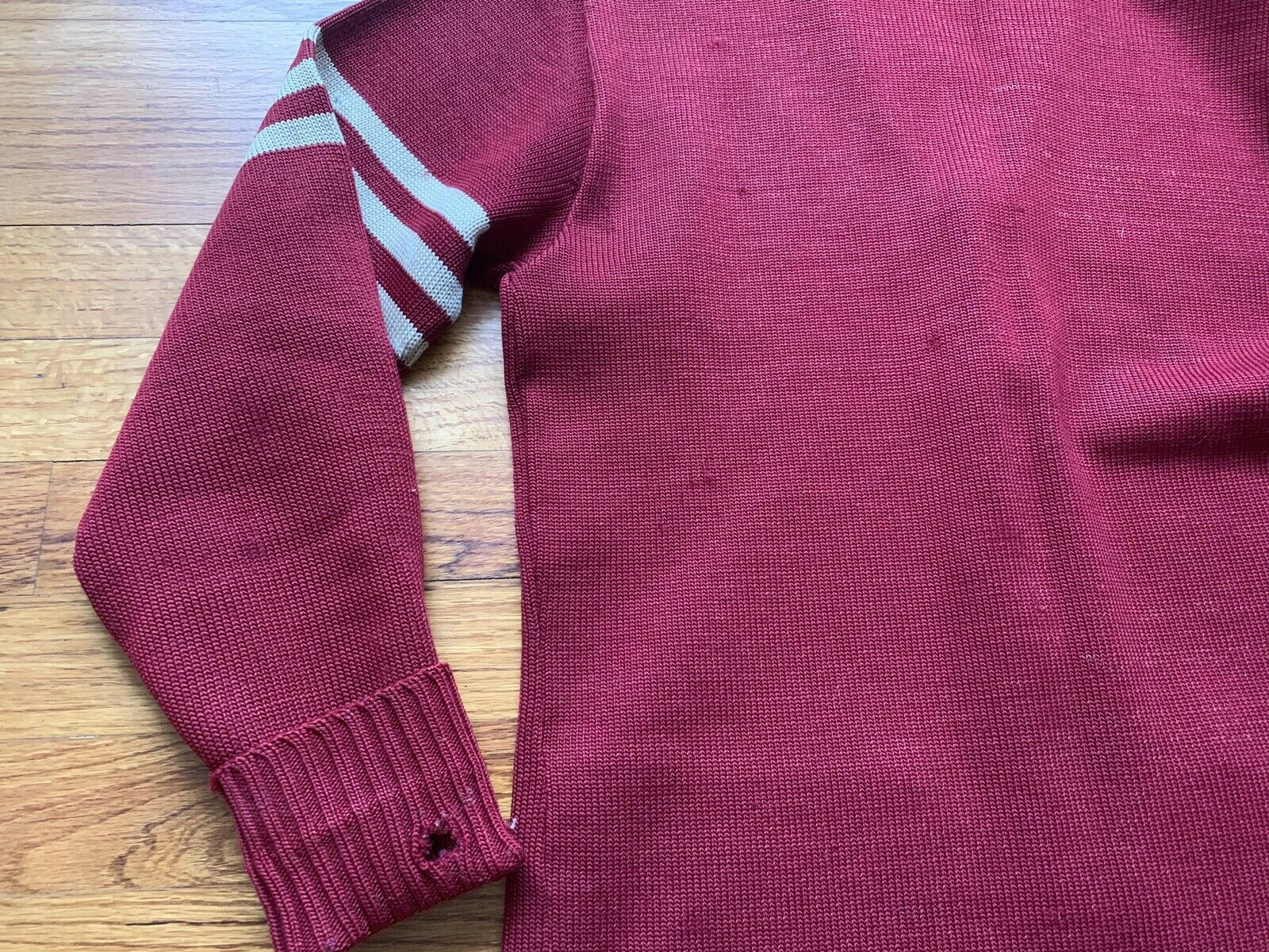 40's/50's Letterman Sweater Knit Cardigan Button … - image 8
