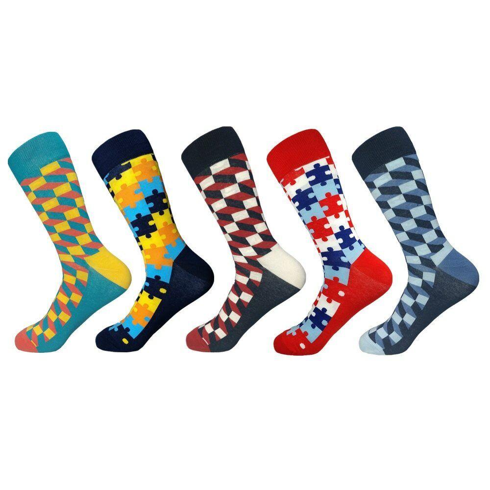 5 Paar Checker Kariert Puzzle Streifen Mix Muster Lange Socken Unisex Freizeit