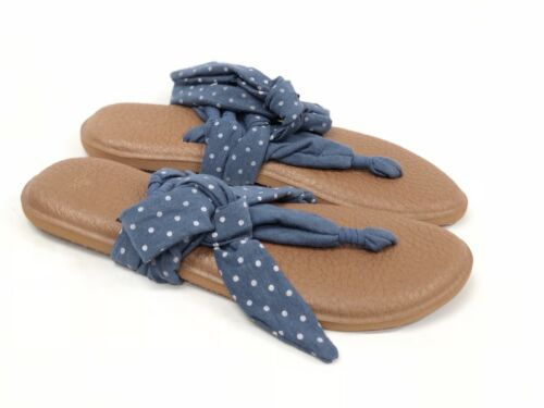 SANUK YOGA SLINGED UP STRETCH FABRIC FLIP FLOP SANDAL SLATE BLUE DOTS Ankle Wrap