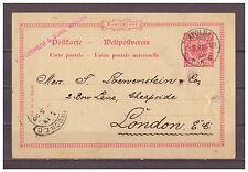 Deutsches Reich, Ganzsache P 25 Apolda nach London 03.09.1900