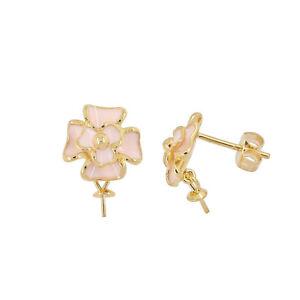Gold Plated Sterling Silver Flower Enamel Stud Post Earring Connector #99661 RafraîChissement