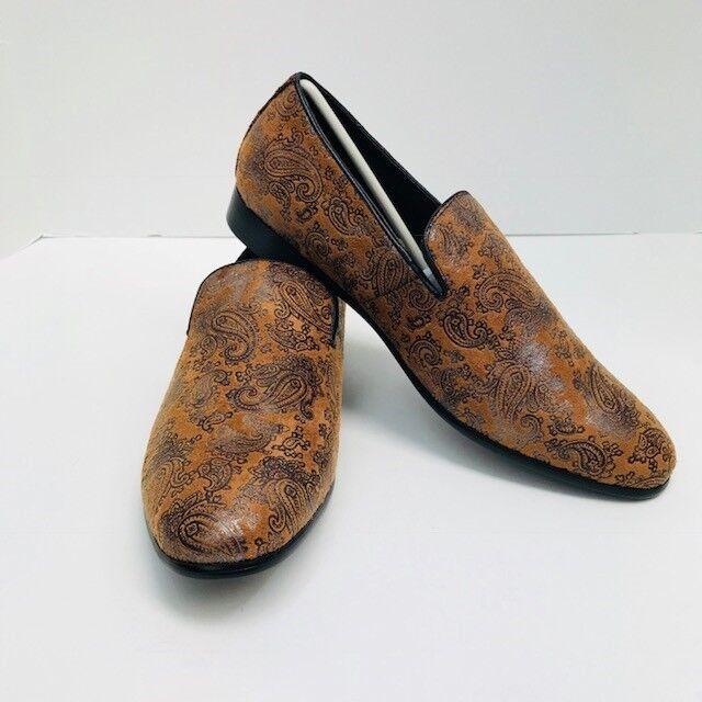 Men's Amali Cognac Shoes Paisley Print Slip Ons Shoes Cognac US Sizes 8.5 - 12 f2b1b0