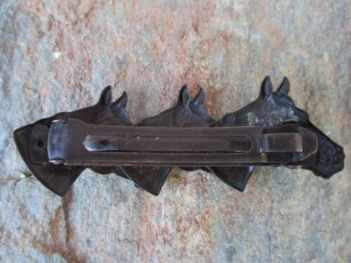 3 Horse Head Hair Barrette with Made in France 80mm Clip-Made in USA 6021B