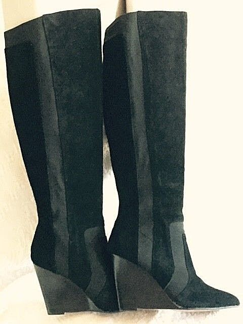 Black SUEDE Knee-high Report Signature ISLAH Boots US 9 NEW