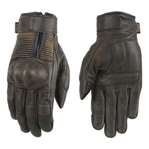 Furygan James D3O Motorcycle Leather Gloves Antique Brown Vintage Look Scrambler