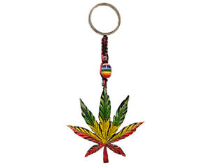 Details about Rasta Leaf Cannabis Weed Handmade 3D Keychain Macrame Metal  Keyring Accessory