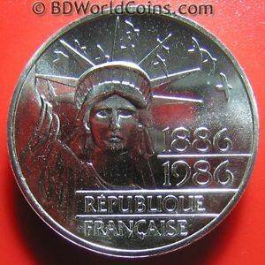 1986-FRANCE-100-FRANCS-87oz-SILVER-PIEDFORT-PIEFORT-STATUE-OF-LIBERTY-COIN-31mm