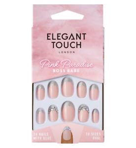 Elegant-Touch-False-Fake-Nails-Pink-Paradise-Boss-Babe-Diamante-Oval-24-Pk