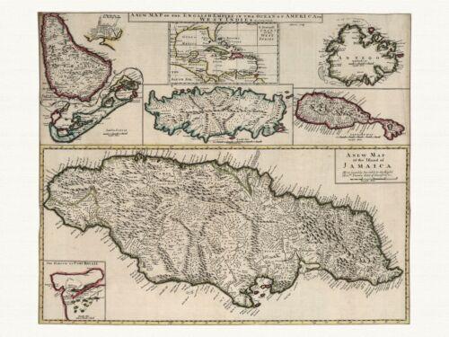 Old Vintage Antique Jamaica Barbados Tobago map Senex ca 1721 paper or canvas