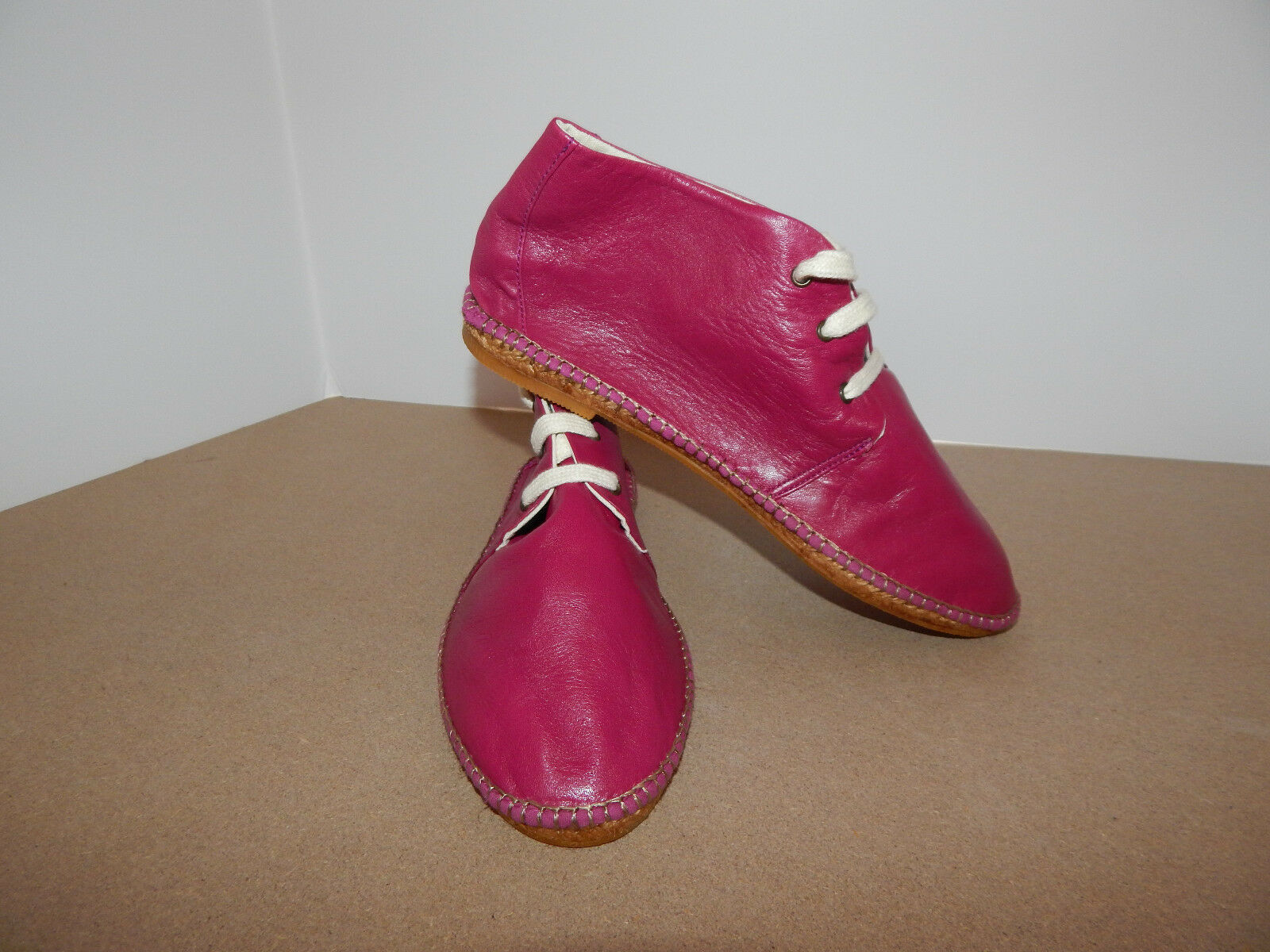 CHOCOLAT BLU SHOES FLATS FUSHIA PINK LEATHER ANKLE BOOTIE STRING TIE 10