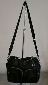 Details About Mz Wallace Black Roxy Nylon Bag With Leather Handles Removable Strap