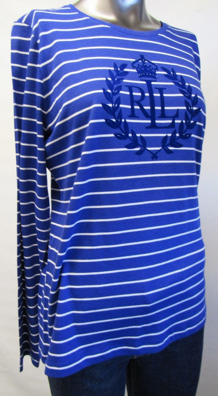 Ralph Lauren,Neu mit Tags,Damen,Shirt,Langarm,Blau Weiß,Gestreift,L (USA),Gr.42