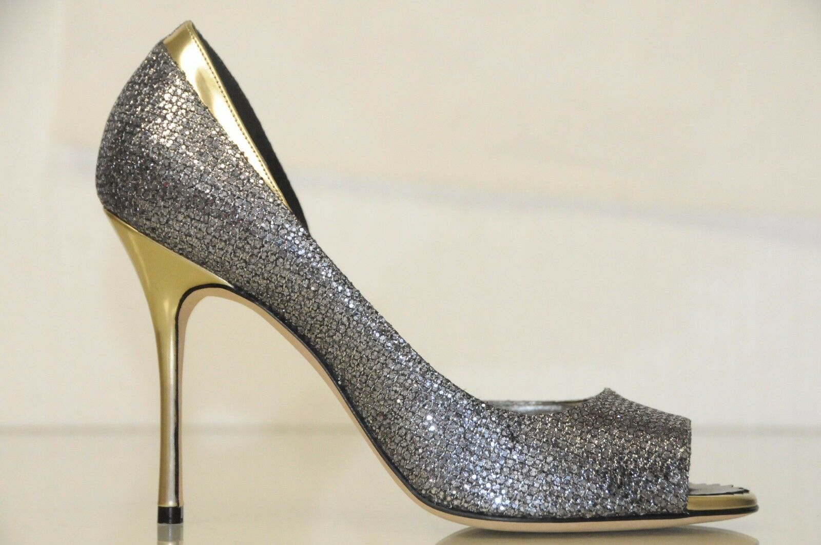 New Manolo Manolo Manolo Blahnik ALIM 105 Anthracite argent GLITTER or chaussures Pumps 41.5 26e604