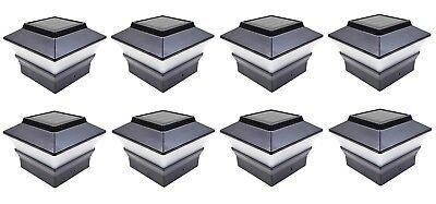 "Relightable 8-Pack Solar Black 4/""x4/"" Square Deck Post Fence Light LED PL244B"