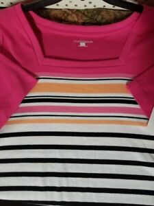 Women-039-s-Croft-amp-Barrow-top-shirt-Size-2X-Short-sleeve-Pink-Striped-shirt-New