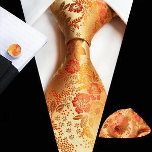 Cravate-Pochette-Boutons-de-manchette-fleur-orange-Set-100-Soie-Mariage