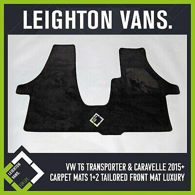 CARPET MATS BLACK TAILORED FRONT MAT LUXURY VW T6 TRANSPORTER /& CARAVELLE 2015
