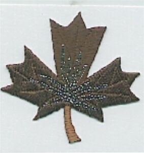 """1 5/8"""" x 1 7/8"""" Dark Brown Chocolate Maple Leaf Embroidery Patch"""