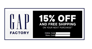 extra 15/% off your purchase code coupon F R E E shipping GAP FACTORY