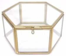 Large Hexagon Glass Box, Glass Jewellery Box, Glass Jewelry Box, Glass Box