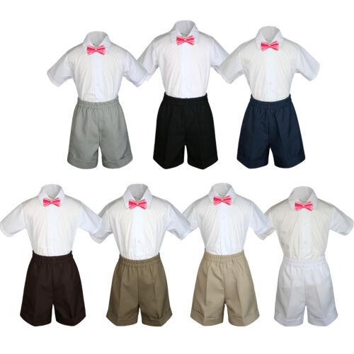3pc Boy Toddler Formal Coral Bow tie White Dark Khaki Gray Black Shorts sz S-4T