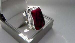 Avant-garde-11g-sterling-silver-925-red-jasper-gemstone-ring-size-L-US-5-75