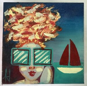 """SCOTT JACOBS (AMERICAN, 20TH C.) """"SHE BLOWS ME AWAY"""" OIL ON CANVAS"""