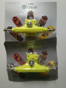2-x-VINTAGE-CIRCLE-YELLOW-SKATEBOARD-TRUCKS-IN-BLISTER-OLD-SCHOOL-8-5-034-NOS