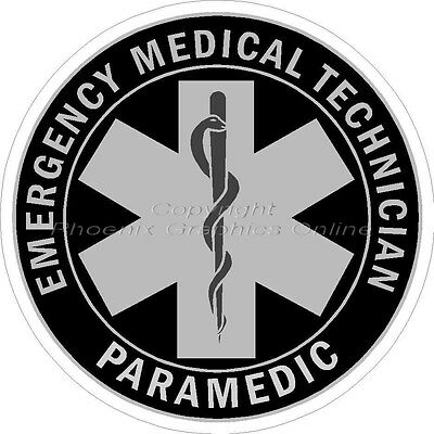 Subdued Black EMT Paramedic Reflective Firefighter Rescue EMS Decal Sticker 3093