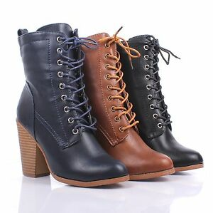 3 Color Faux Leather Lace Up Ankle-High Chunky Heels Womens Combat Boots Size