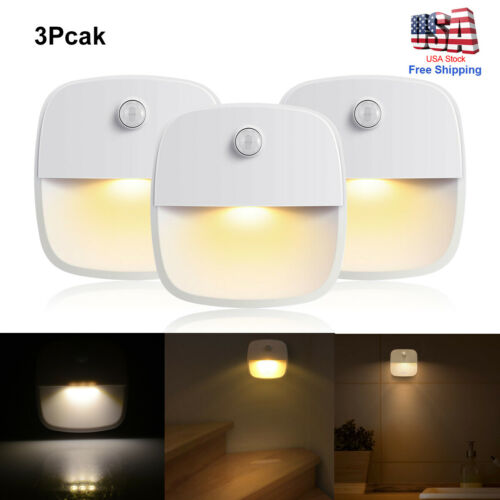3*Wireless PIR Motion Sensor Stair Step Wall LED Light Indoor Cabinet Night Lamp