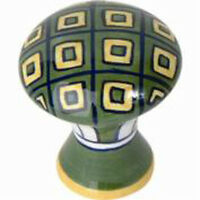 Atlas Homewares Cabinet Hardware Knob Ceramic Yellow Green Geo Handle Pull