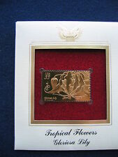 1999 Gloriosa Lily Tropical Flowers First 22kt Gold Golden Cover replica Stamp