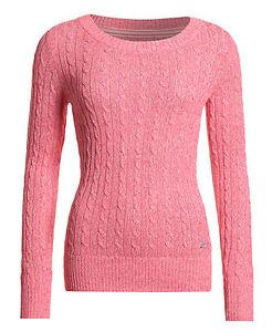 Neuer Damen Superdry Fluro Croyde Cable Knit Fluro Pink