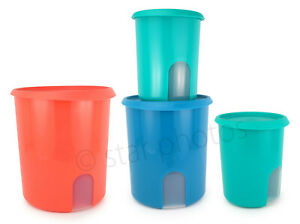 Tupperware Reminder Canisters Set Colorful Seals Pink