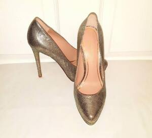 Enzo-Angiolini-Gold-Silver-Leather-Stiletto-Heel-Platform-Pumps-Size-7-M