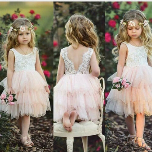 Kid Baby Girl Dress Party Pageant Formal Dresses Tulle Tutu Lace Backless Dress