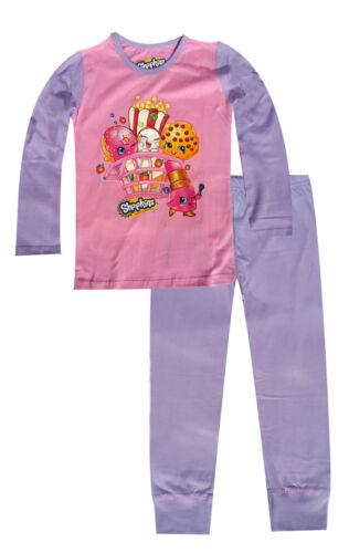 Girls New Shopkins Shoppies Cotton Pink Pyjamas Sleepwear PJ Age 4-10 Years
