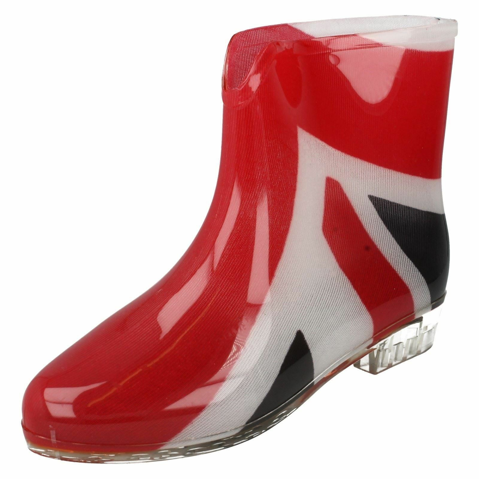 Ladies spot on  union jack ankle wellingtons boots x1195