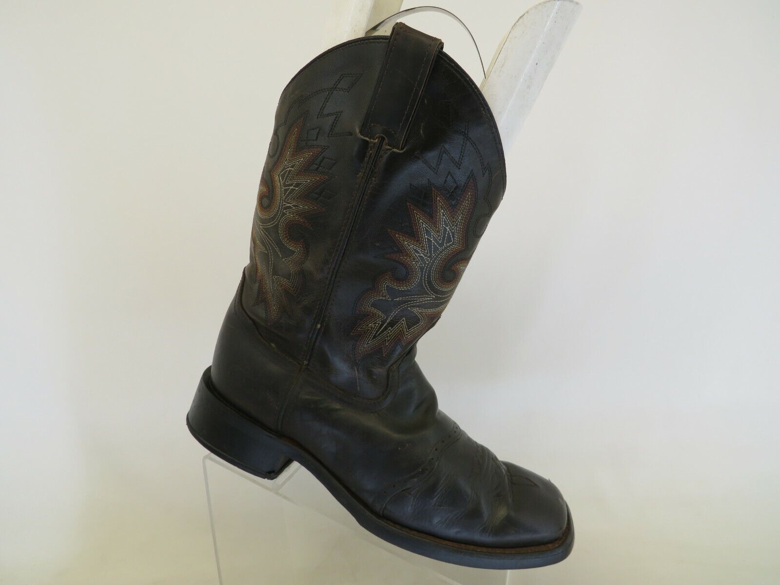 Double H Brown Leather Stockman Cowboy Western Boots Mens Size 9 D