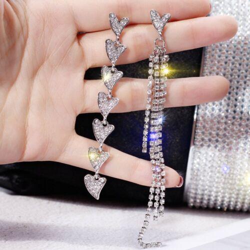 Fashion Luxury Geometric Earrings Women Crystal Tassel Hoop Stud Jewelry Gift