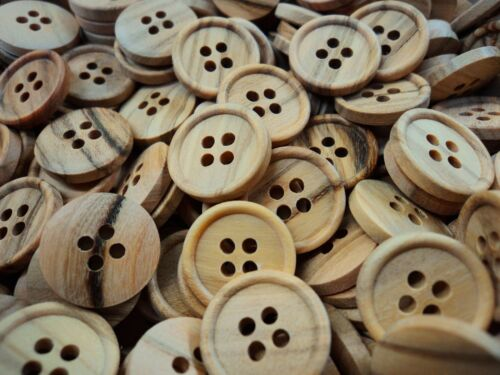 11mm BABY REAL NATURAL OLIVE WOOD ITALIAN 4 HOLE BUTTONS 15mm 18mm SHIRT