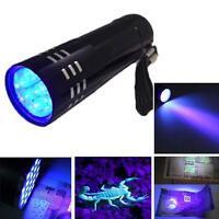Mini Aluminum UV Ultra Violet 9 LED Flashlight Blacklight Torch Light Lamp #A WT