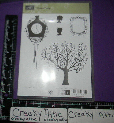 Stampin/' Up Forever Young tree but opened card making rubber stamp set for clear mounts silhouettes scrapbooking, clock swing NEW