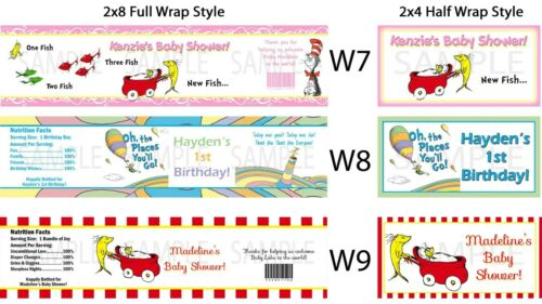 Seuss Thing 1 2 ~ Water Bottle Labels ~ Birthday Party Baby Shower Supplies Dr