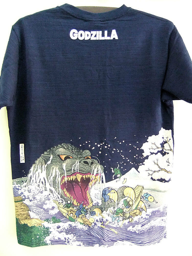 Godzilla T-shirt Sakura Ukiyoe Japanese Traditional Japan Limited Dark Blau XL