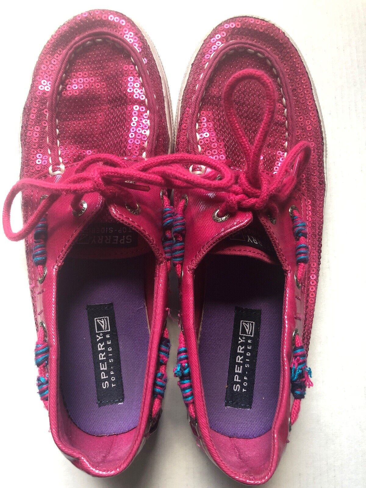 Sperry Top Sider Hot Pink Sequin Girls Boat Shoes 2 3 Dress MSRP $60 NEW