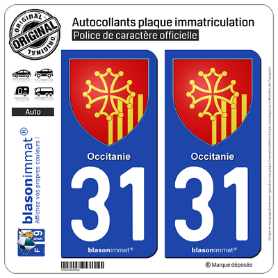 2 Stickers Autocollant Plaque Immatriculation Auto 31 Occitanie - Armoiries Consumers First